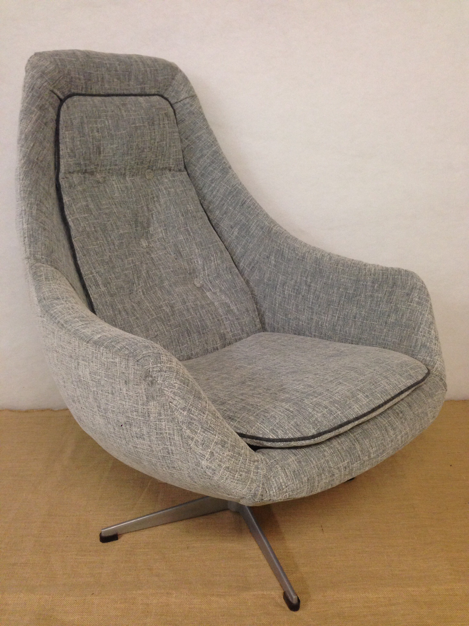 Bucket Egg Swivel Chair. Newly Upholstered ...